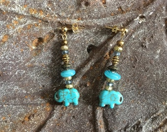 Elephant jewelry Style options Earrings bracelet necklaces Wildlife fundraiser Lucky charm Good luck elephant Turquoise blue Kwanzaa gift