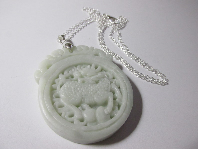 24 Carved White Jade Stone Pendant of Mythical Kylin with Silver Tone Chain