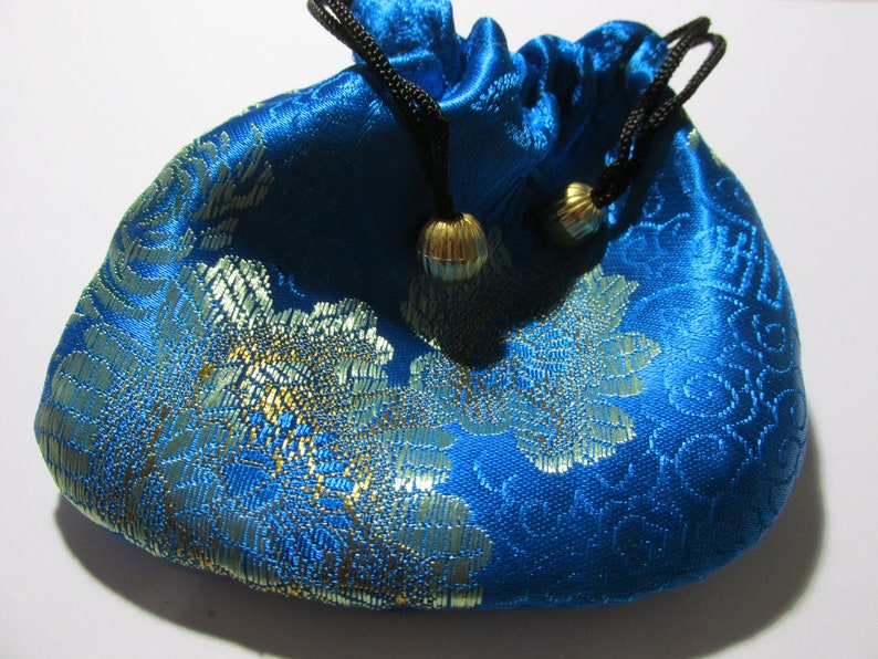 4 Turquoise Blue Silk Brocade Fabric Pull-String Pouch with Floral Motif