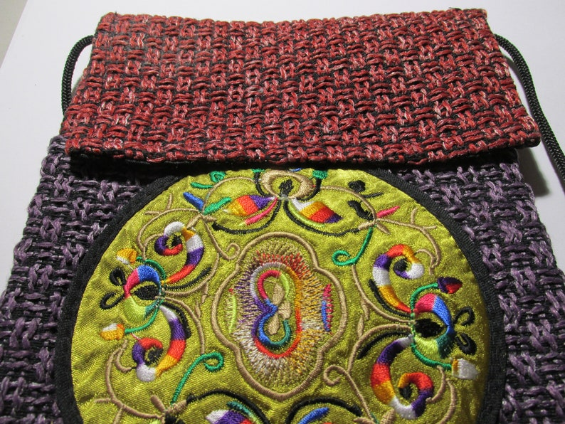 6 34 x 8 14 Flat Red and Purple Loose Weave Burlap Fabric Pouch with Oriental Mandala Motif