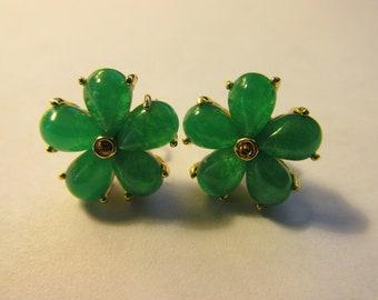 Green Jade Flower Earring Studs, 13mm