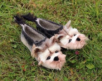 95b5b95dada Yorkshire Terrier - custom felted dog slippers
