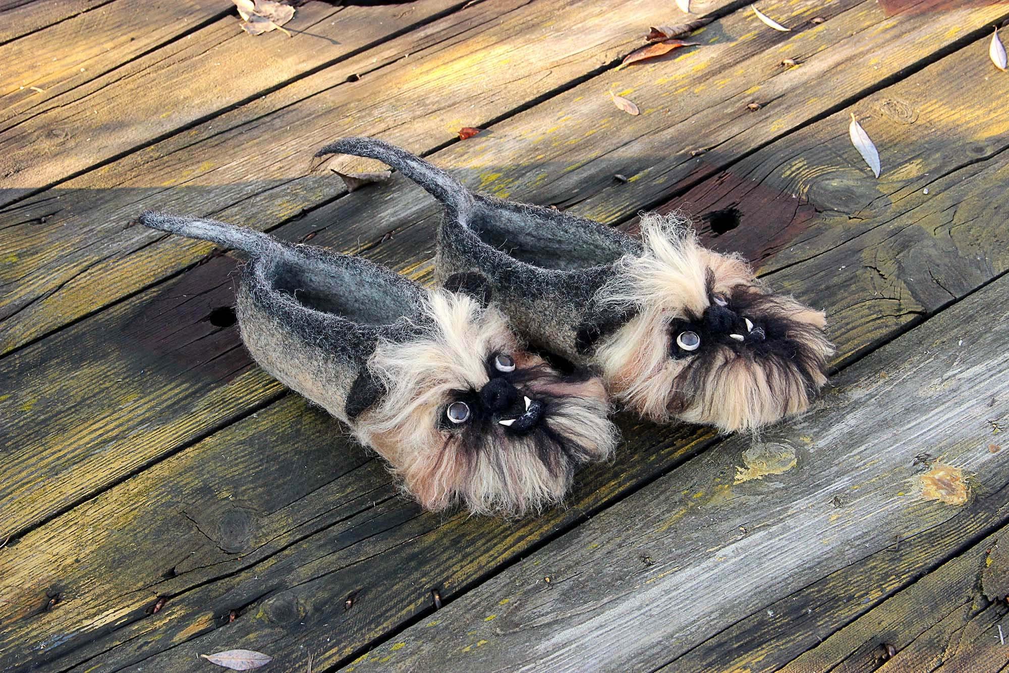 Dogs Brussels Griffon custom slippers, Griffon Bruxellois Shepherd, wool shoes, felted Belgian Shepherd, Bruxellois Griffon Belge, Petit Brabançon any breed dog 10ee44