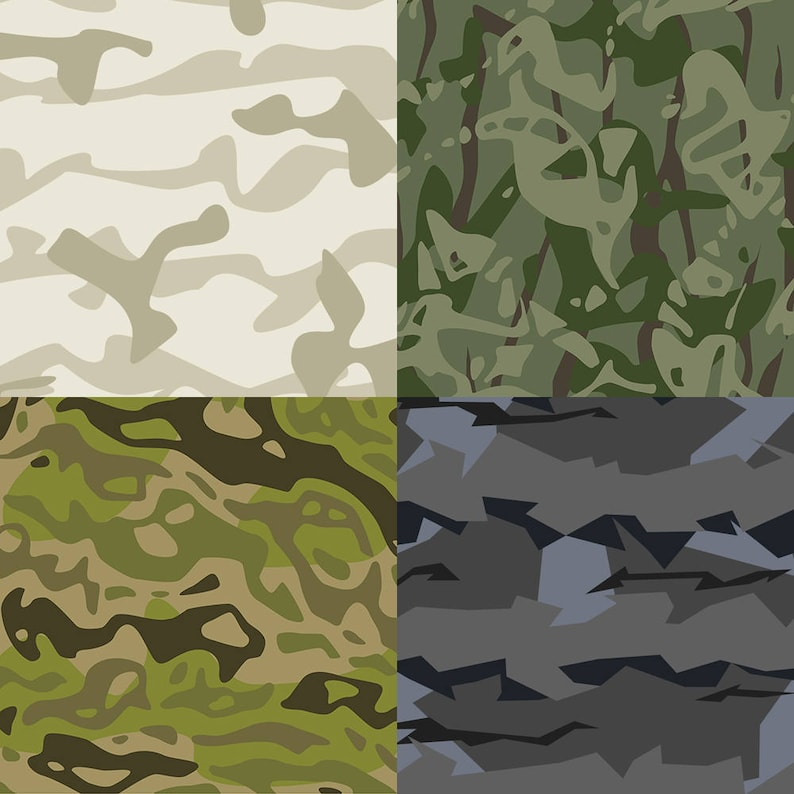 Instant download 43 vector camouflage patterns, realistic, unrealistic,  author's camo texture, military, army, urban print, custom order
