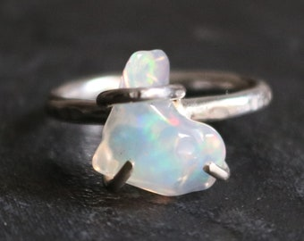 Natural raw opal ring and silver 925 Ring precious stones Ring raw stone Ring hard stones Modern ring