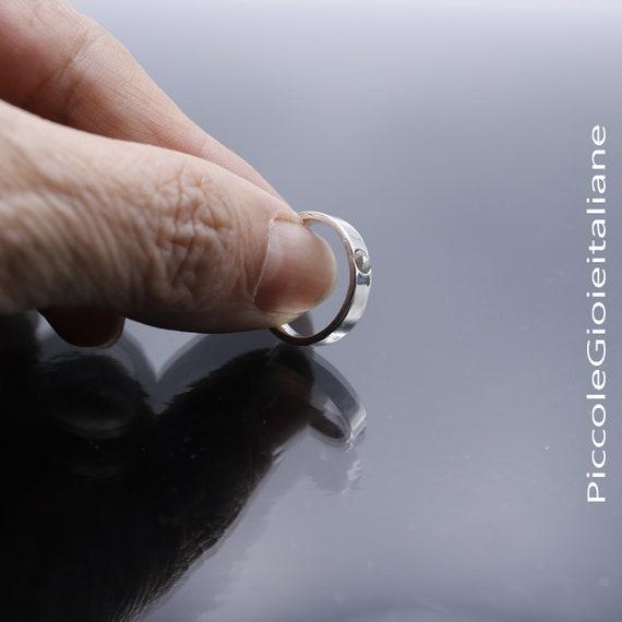 Anello fedina fede in argento 925 con diamante naturale incastonato uomo donna