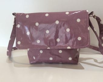 Cross body shoulder festival bag oil cloth polka dots