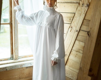Victorian Winter - long cotton women s night gown b7bbf567be