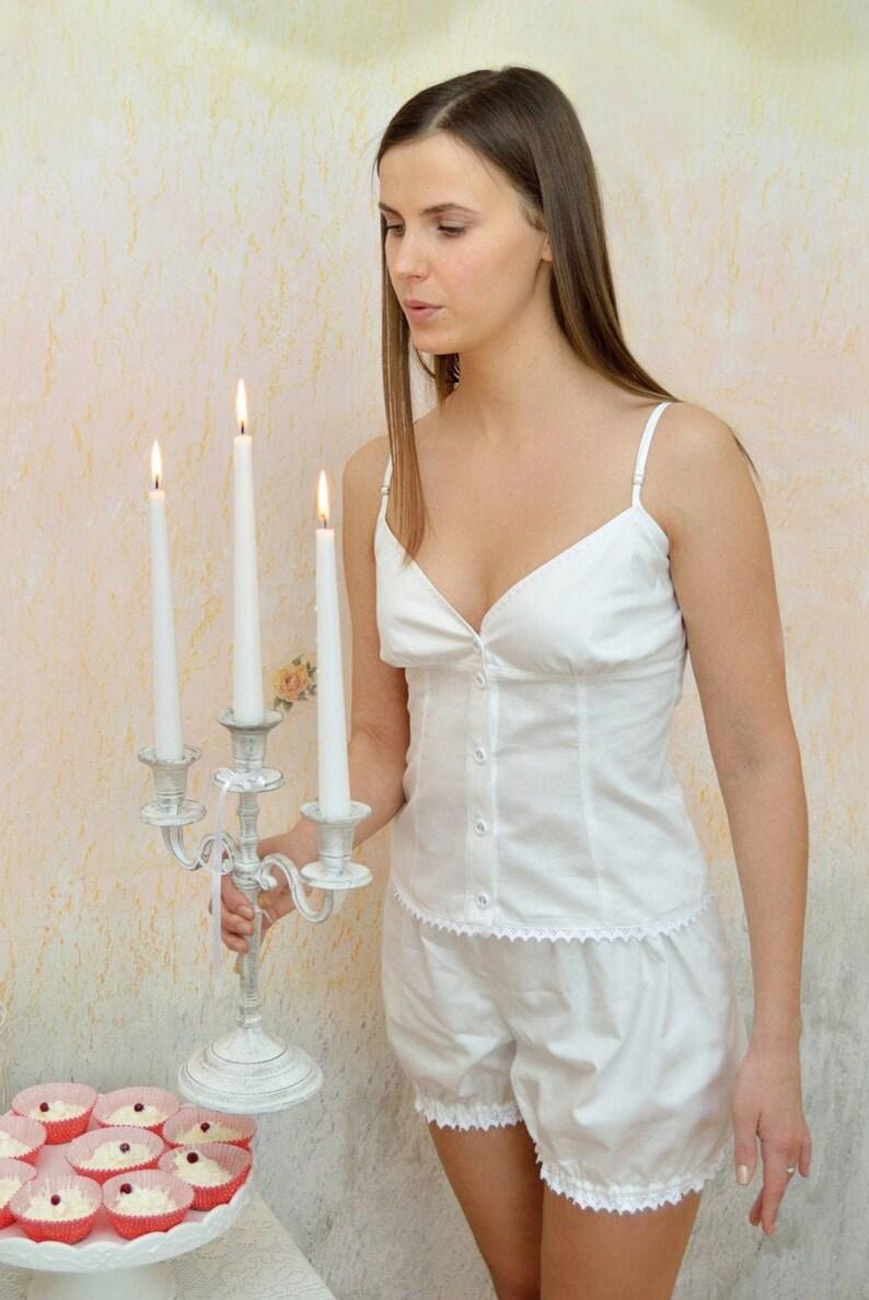 Vintage Nightgowns, Pajamas, Baby Dolls, Robes Collette Du Bois - Vintage inspired Victorian white cotton pajamas/pyjamas undies Victorian drawers vest knickers organic cotton $98.17 AT vintagedancer.com