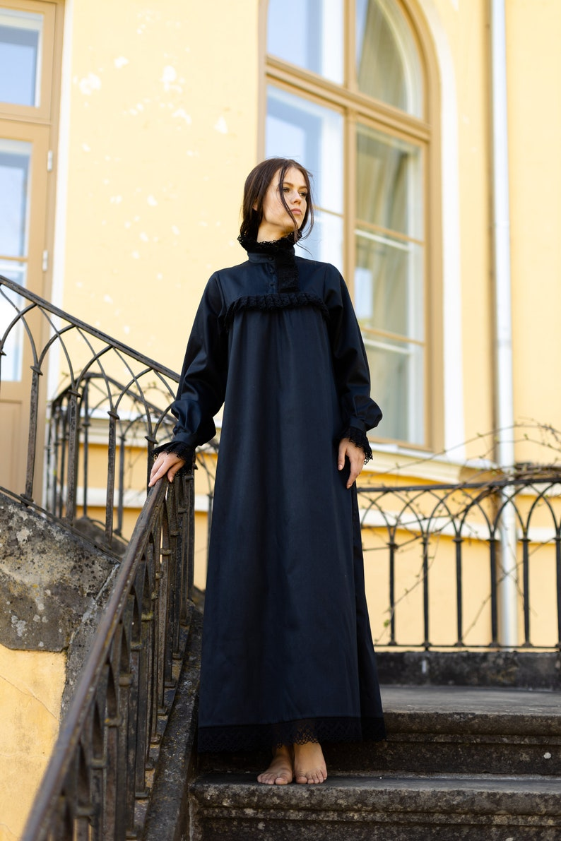 Steampunk Costume Essentials for Women Victorian Winter in Black - long cotton women night gown vintage inspired victorian nightgown vintage nightgown available organic cotton $109.40 AT vintagedancer.com