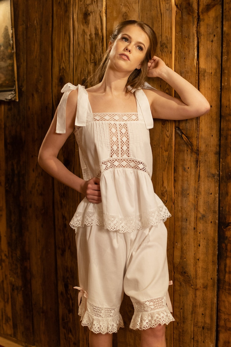 Vintage Lingerie | New Underwear, Bras, Slips Mademoiselle de France - French Vintage inspired white cotton pajamas/pyjamas vintage underwear vintage drawers $183.06 AT vintagedancer.com