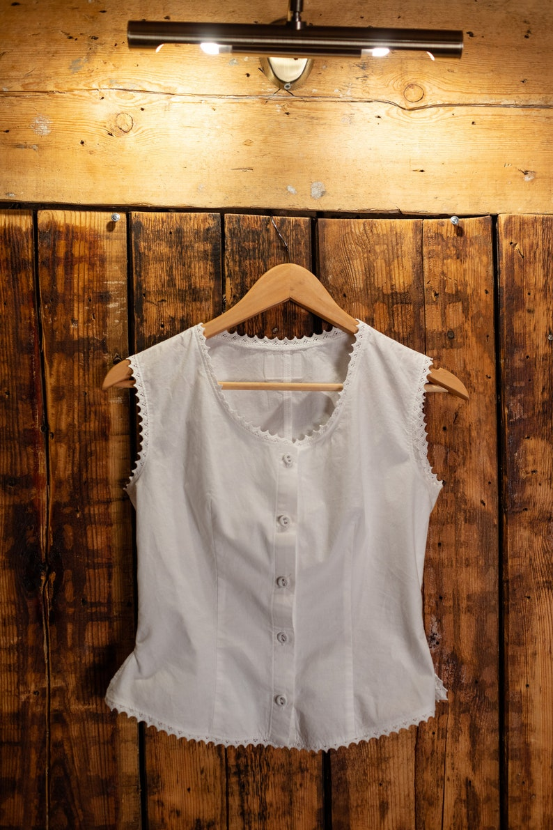 Victorian Lingerie – Underwear, Petticoat, Bloomers, Chemise Just Lady - Vintage inspired Victorian white cotton vest white cotton top available organic cotton natural dye $55.61 AT vintagedancer.com