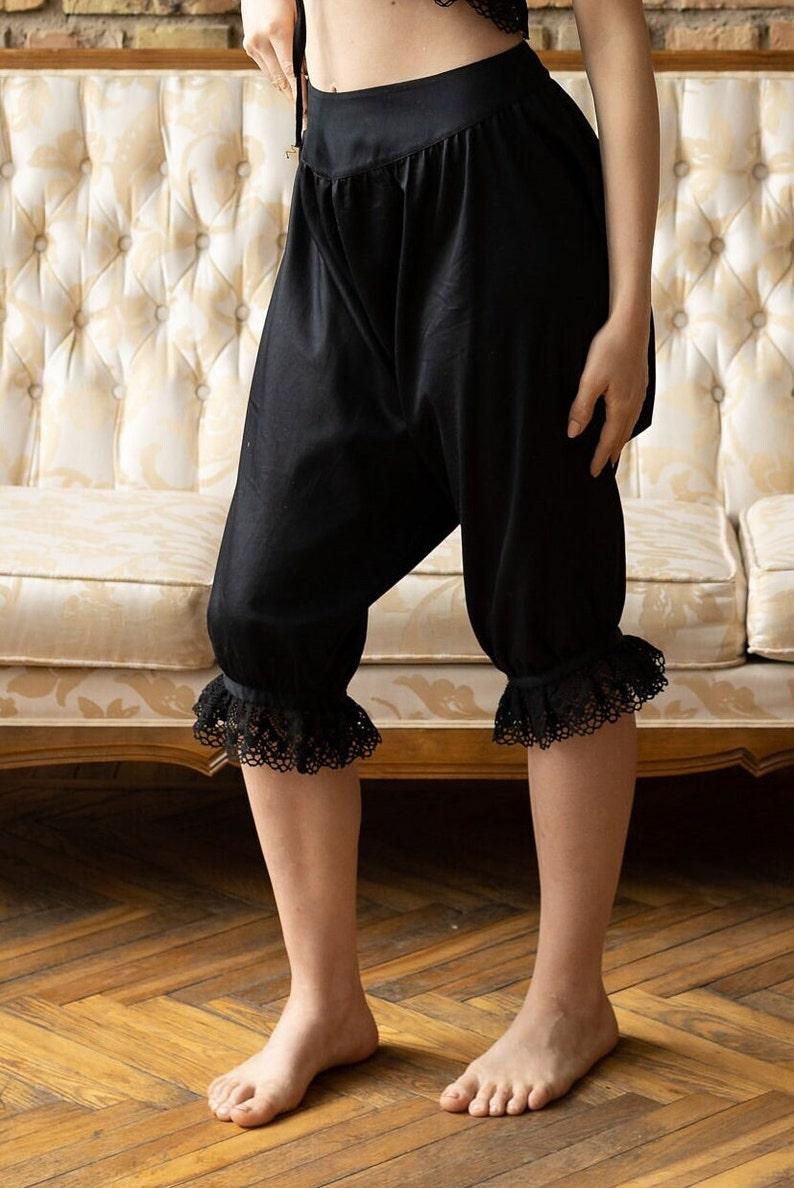 Victorian Lingerie – Underwear, Petticoat, Bloomers, Chemise Maria – Duchess of Bedford - Victorian originals inspired black cotton underwear victorian bloomers split drawers vintage knickerbockers $65.15 AT vintagedancer.com