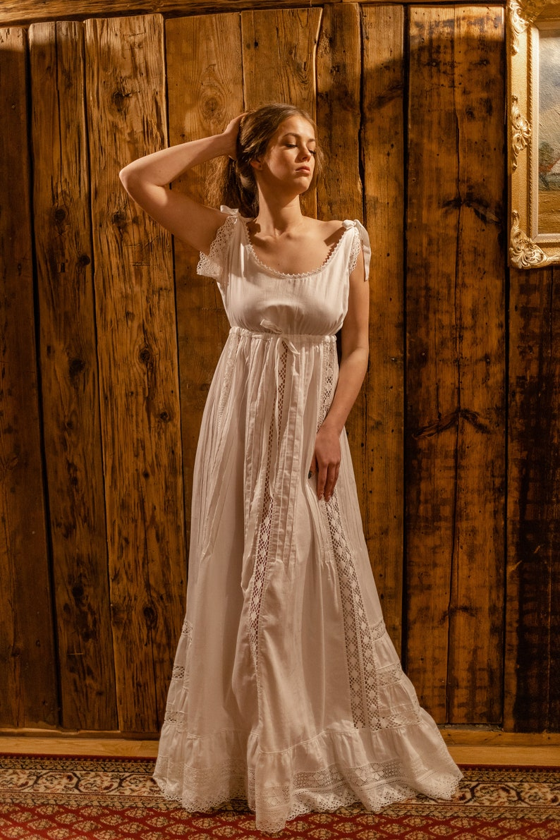 Victorian Nightgowns, Nightdress, Pajamas, Robes Delicate Beauty - Cotton womens nightgown Bridal nightgown Exclusive nightgown Vintage nightgown Victorian nightgown $260.69 AT vintagedancer.com