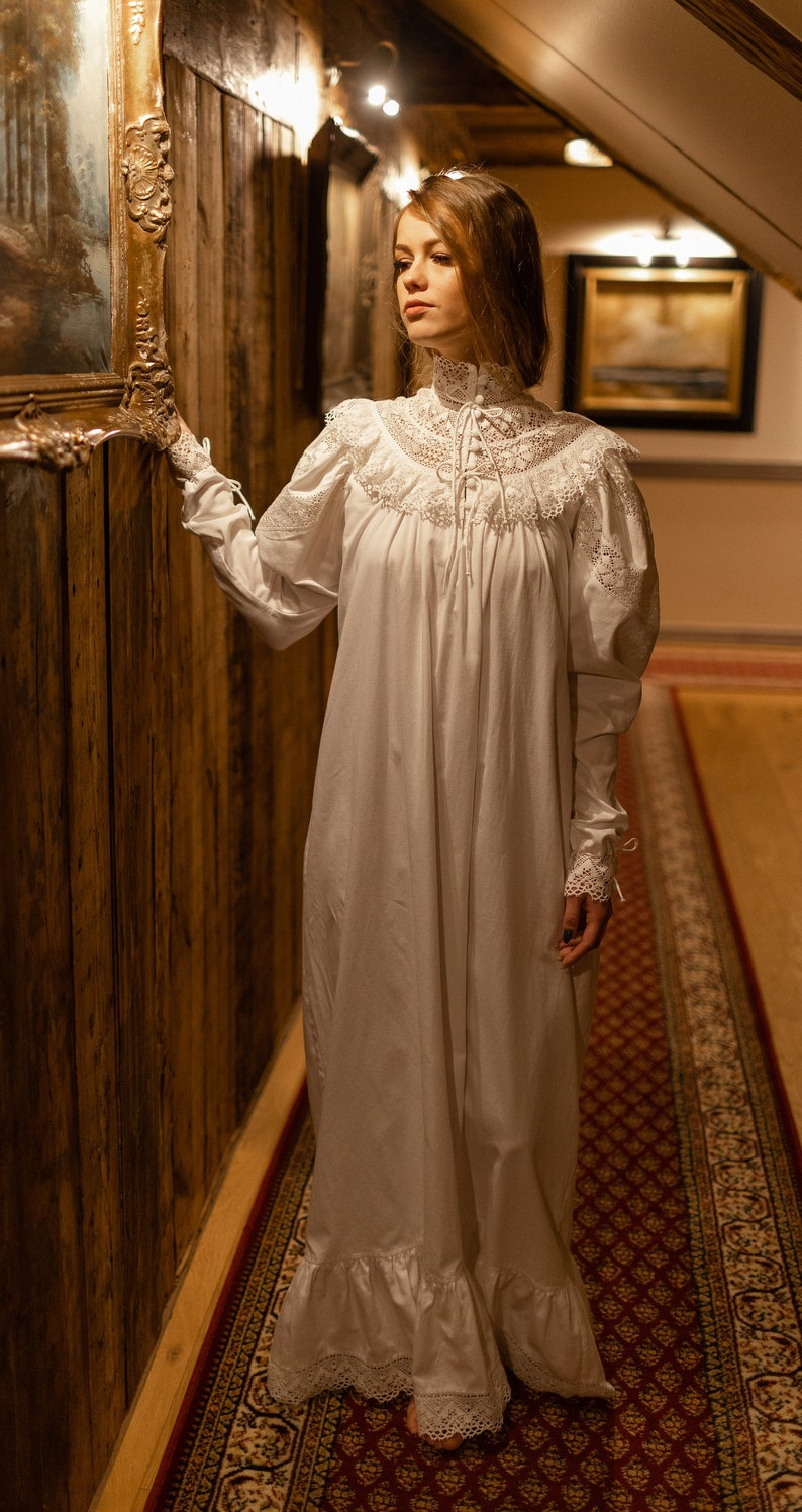 Victorian Nightgowns, Nightdress, Pajamas, Robes Edwardian Winter - cotton womens night gown vintage inspired victorian nightgown edwardian vintage nightgown available organic cotton $206.23 AT vintagedancer.com