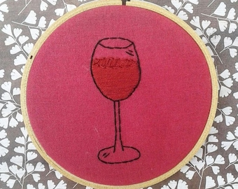 Wine Hand Embroidery Hoop- Wall Art (4 inch)- Original/Ready to Ship- Retired Design