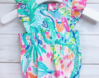 00b4b622a3b024 Handmade Romper, Lilly Pulitzer Fabric, Mermaid Cove, other Lilly Fabrics,  Baby Romper, Baby Girl Lilly Romper