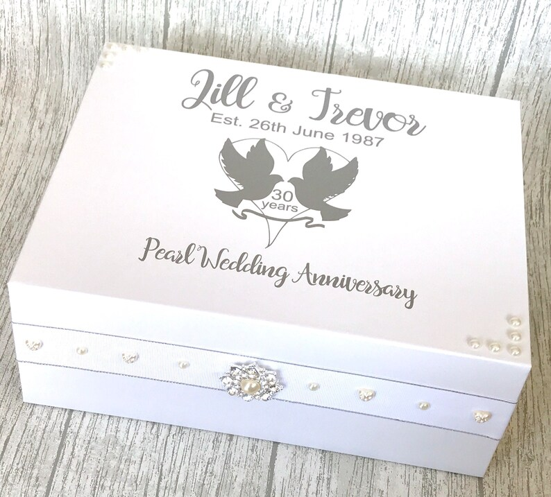 Pearl Wedding Anniversary Gift Anniversary Keepsake Box Wedding Memory Box 30 Years Keepsake Box Memory Box