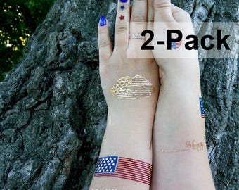Metallic Gold Temporary Body Tattoo Flags Caribbean Patriotic Temporary Tattoos