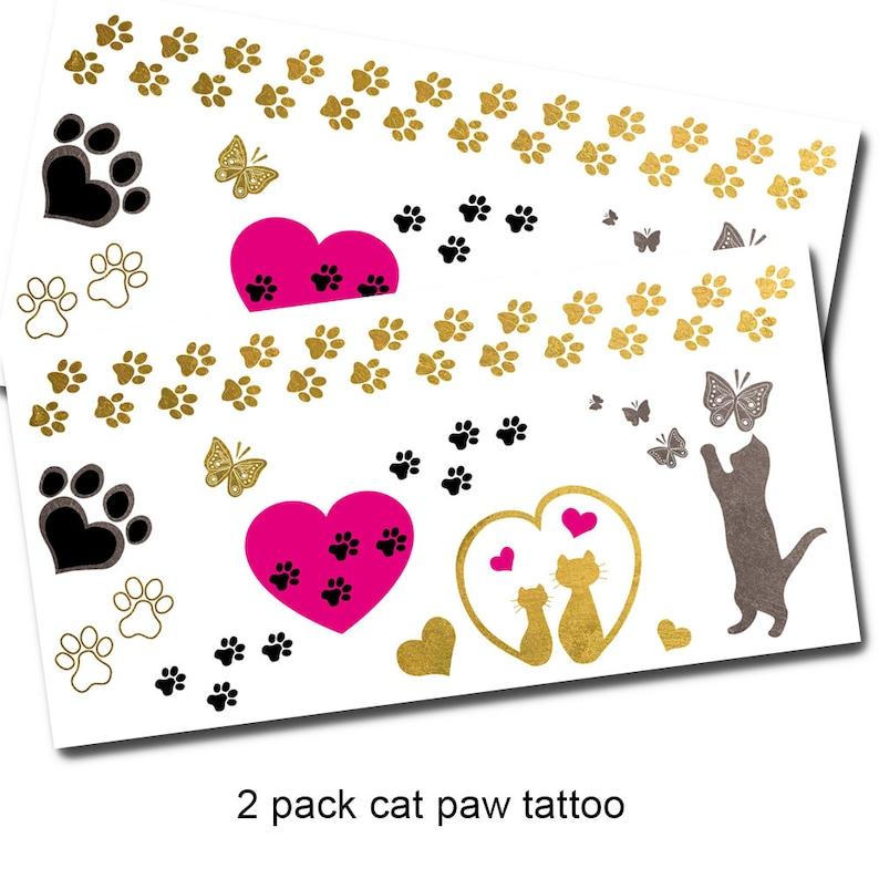 Cat Paw Print Tattoos - Jewel Flash Tattoos - Metallic Gold Tattoos - Favor  Bags Ideas - Temporary Tattoos for Women - Kitty Wrist Tattoo