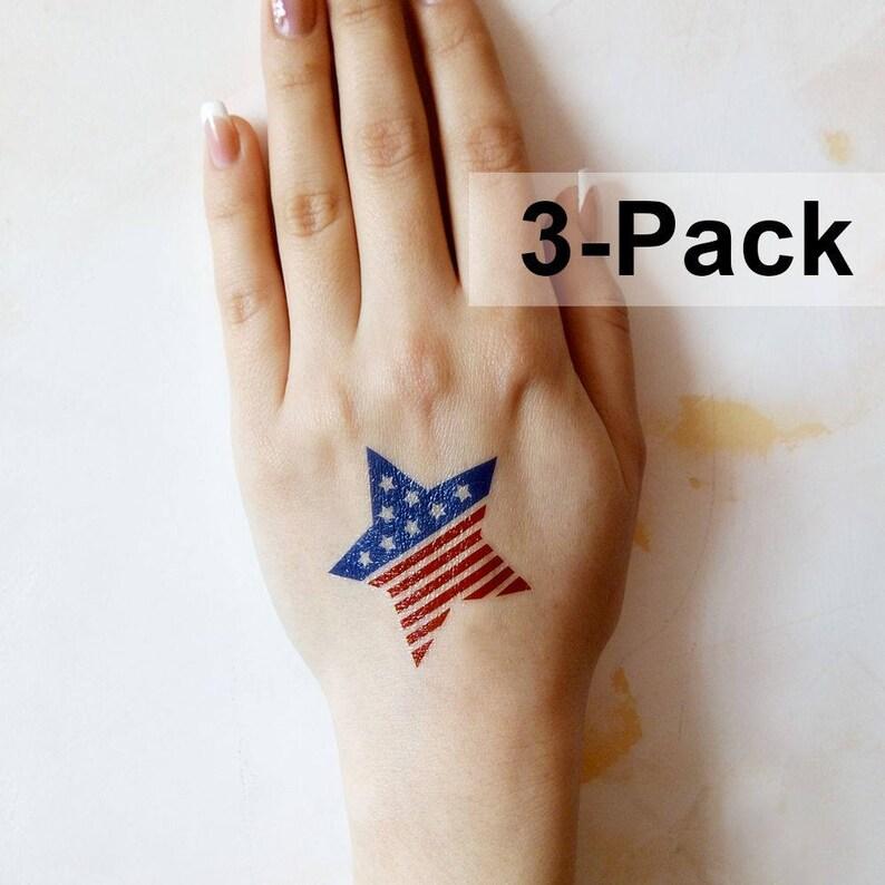 USA Flag Tattoo Patriotic Tattoos Temporary Body Stickers | Etsy