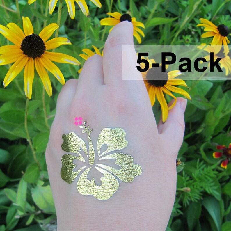 Hawaiian Hibiscus Flower Tattoo Gold Temporary Tattoos Etsy