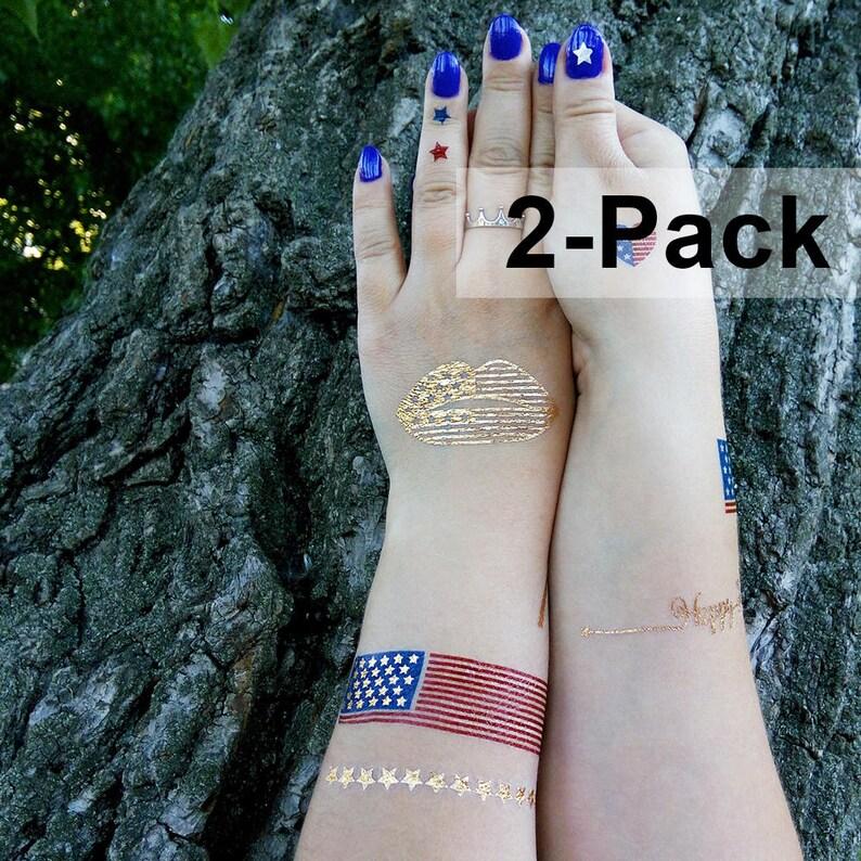 Patriotic Tattoos USA Temporary Tattoos Memorial Day Tattoo | Etsy