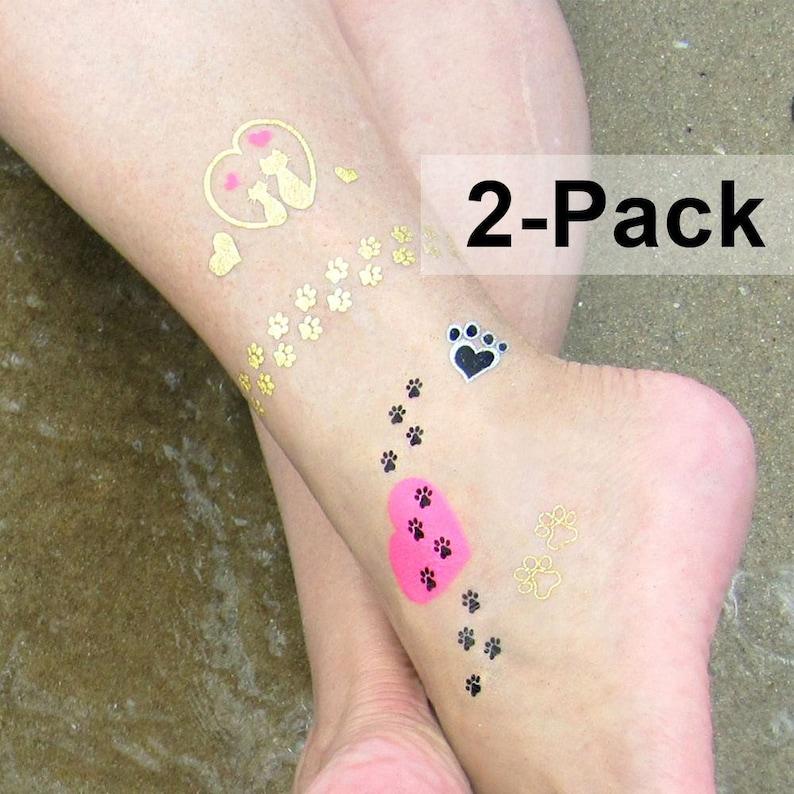 Gatto zampa stampa tatuaggi gioiello lampo tatuaggi  03ea94d63bb9