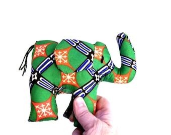 "Medium Green and Orange Stuffed Elephant, Uganda, Africa Fabric, 6x6"""