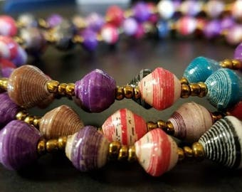 """Long African Recycled Paper Necklace with Gold Glass Beads 60"""""""