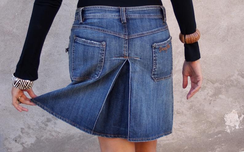 US Size S Street Style, Boho Short Skirt DENNY ROSE Stretched Casual Skirt Split Skirt Eu Size M Denim Blue Skirt Jeans Skirt