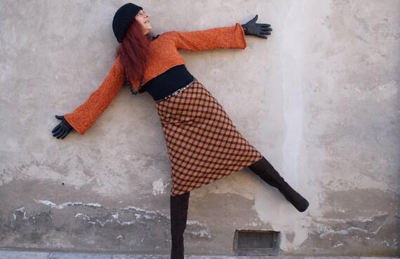 Plaid Wool Skirt, Orange/Rust, Tartan Midi Skirt,