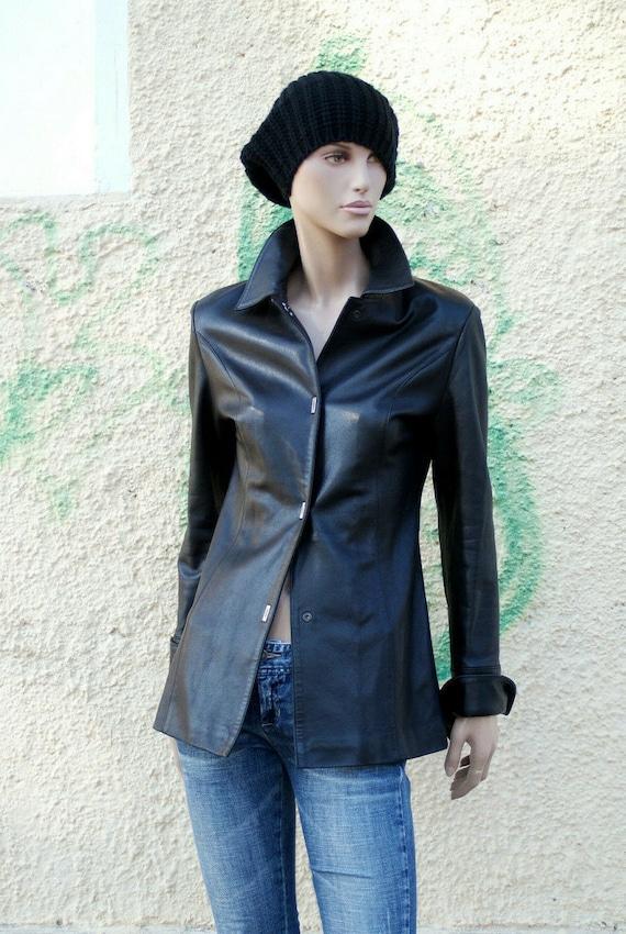 Leather Vintage Jacket, Black Leather Jacket, Woma