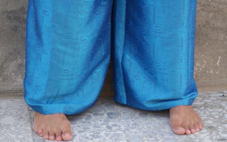 Ibiza Style Turquoise Twin beachwear Set Boho Summer Suit beachwear Thai Silk Harem Pants Crop Top One Size Boho Beach Cover Up