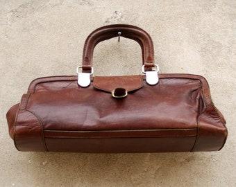 Leather Doctor bag, Brown/Mahogany Red, Vintage, ' 50,, AGOSTINO, Italian doctor Bag