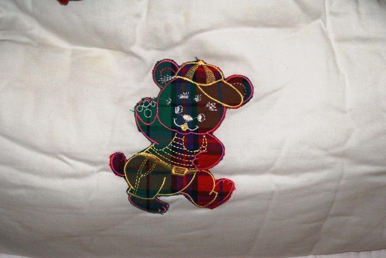 1994 Vintage 90/' Colorful White Nursery Bedding Set Italian Style Bedding Set Scottish Pattern Baby Crib Bedding Set