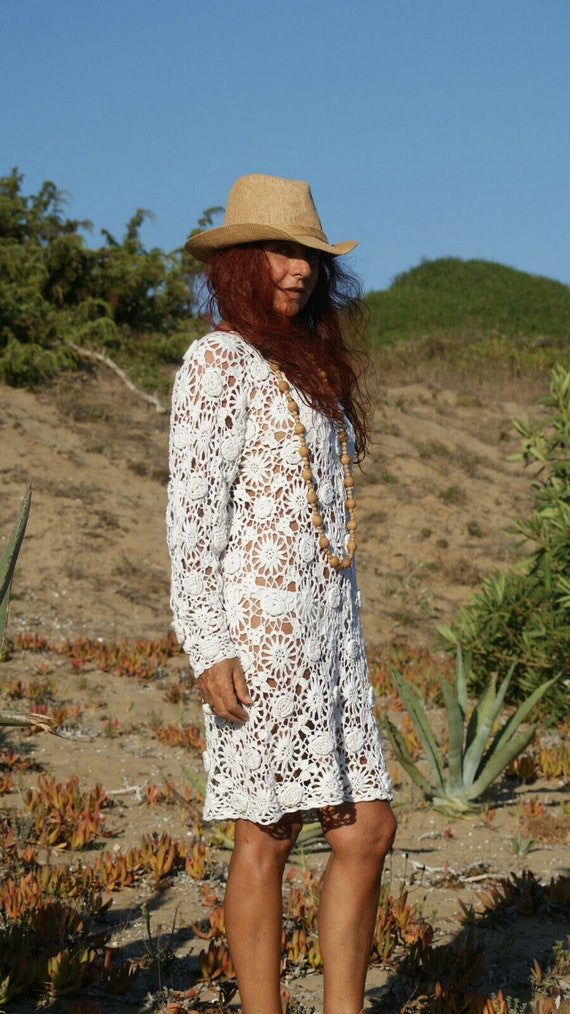 Crochet Beach Tunic, Crochet Top, Crochet White Dr