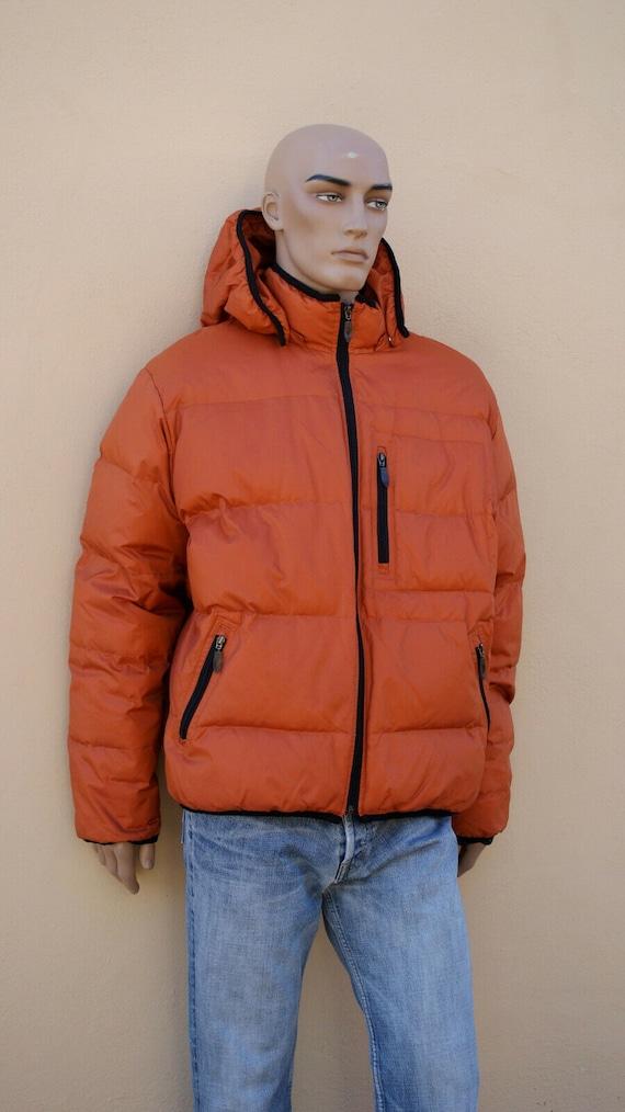 Men's Down Jacket, Vintage Down Jacket, Orange, Go