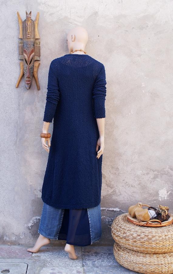 new style 26752 f4767 Outfit Jeansrock + Top + häkeln lange Strickjacke, dunkelblau, Marine,  Sommer Oufit, Boho-Stil, Ibiza-Stil, Hippie Gypsy, Upcycling