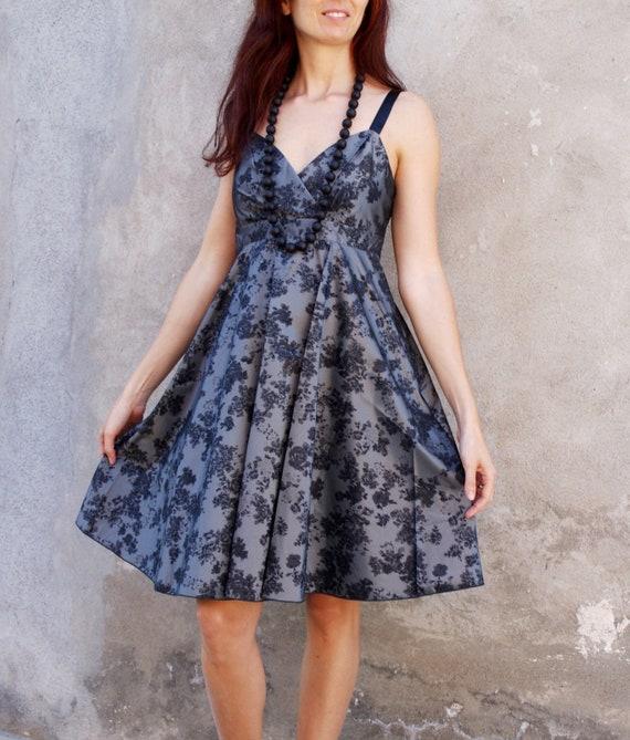 Floral Party Dress, Sleeveless, Wedding Party Dress, Grey and Black, Resort, Summer Dress, Midi Dress, Cocktail Dress, NAF NAF