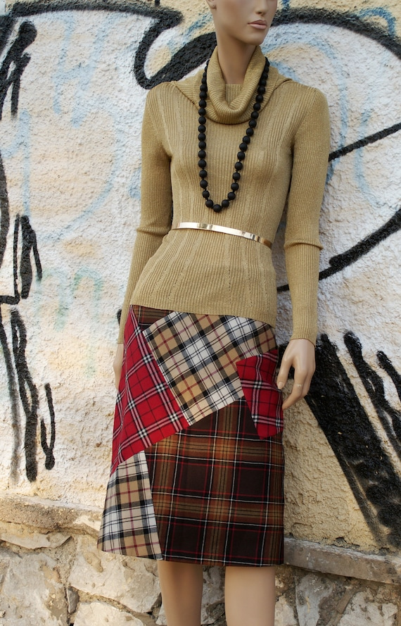 Max&Co Patchwork Vool Skirt, Plaid Wool Skirt, Che