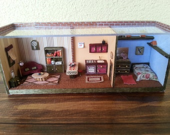 """Miniatures Roombox Dolls House scale 1:48 """"Apartment"""""""