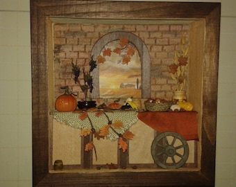 """Miniature roombox dolls house 1:12 scale """"autumn in Tuscany"""""""