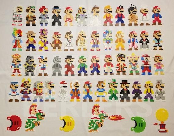 Super Mario Odyssey 8 Bit Perlers All Mario Costumes Available Plus Power Moons The Odyssey 8 Bit Bowserpeach