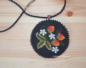 Handmade embroidered strawberry pendant necklace