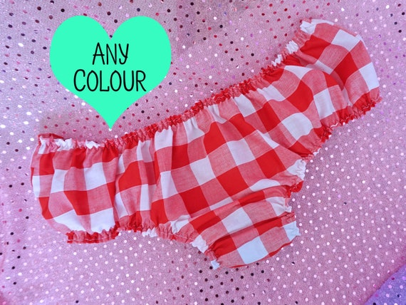 Ladies Pink Miss Sissy Knickers Red Frilly Chiffon briefs Size 8 10 12 14 16