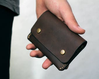 Leather purse Mens wallet Purse Brown for coin cards business cards Cash handmade vintage