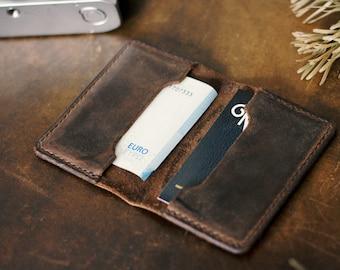 Handmade leather card case Card Holder purse minimalist slim dark brown vintage