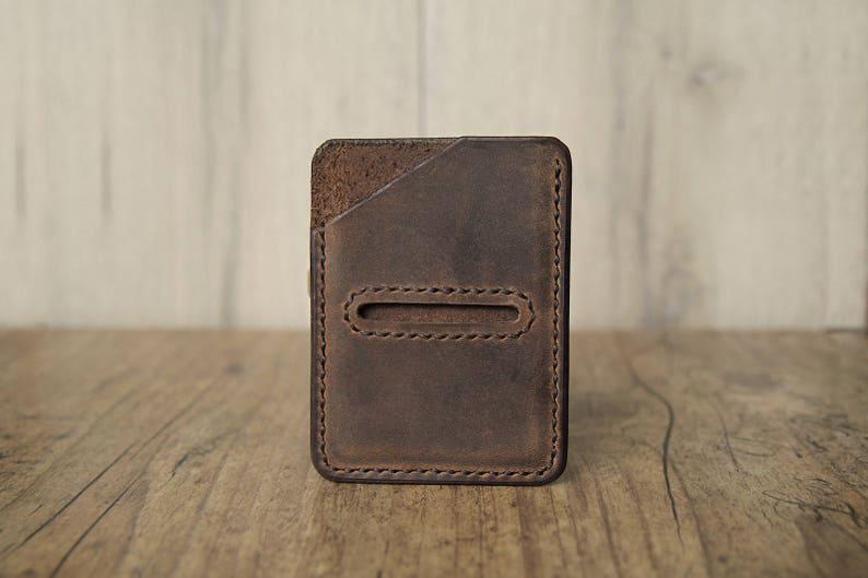 Leather card case cardholder brown small slim purse minimalist vintage dark brown