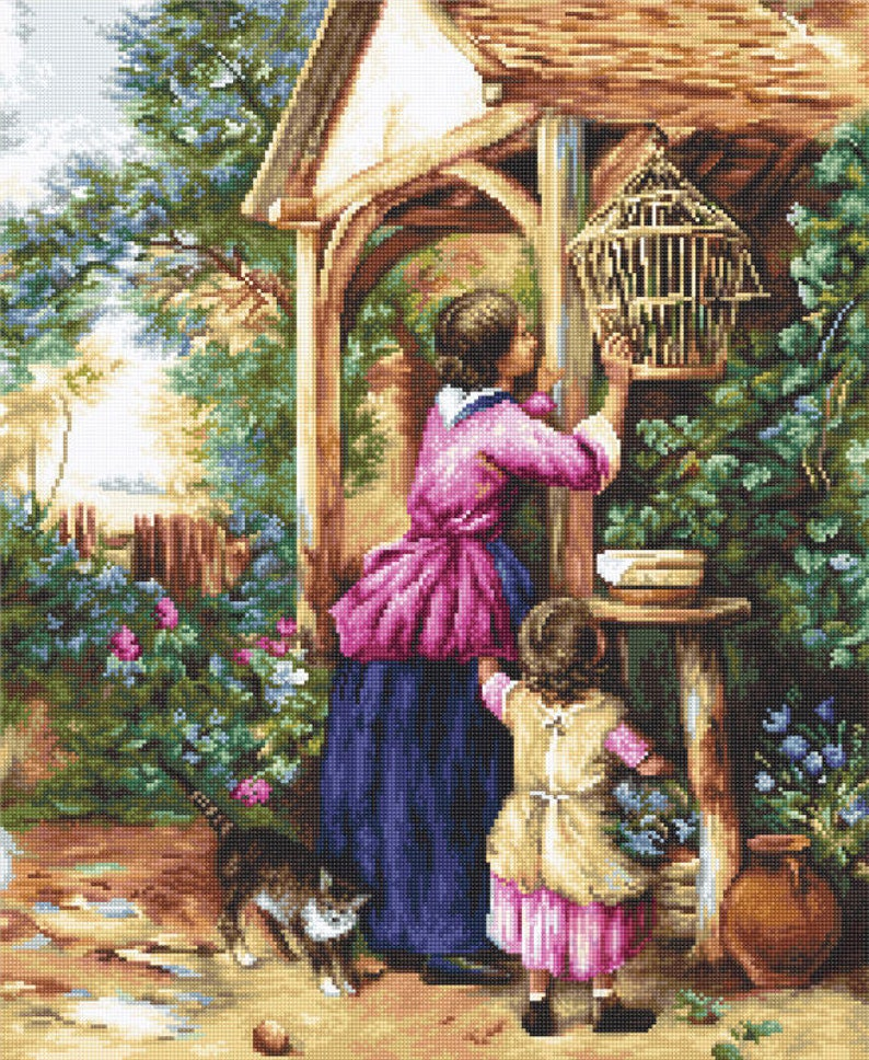 Cross Stitch Kit Hand Embroidery People Women Babies Animals Cat Flowers